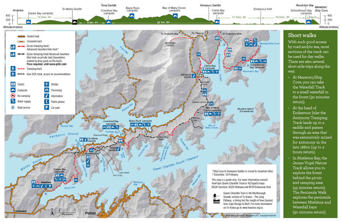 Map Of Queen Charlotte Track Shared By Endeavour Heights Homestay In Punga Cove Marlborough Sounds NZ